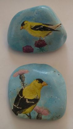 Pair of American Goldfinch Handpainted Rocks | eBay