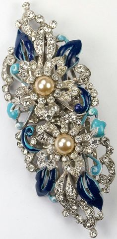 Trifari 'Alfred Philippe' Pave Trembler Pearl Rose and Blue Enamel Leaves Pair of Dress Clips or Clipmate Pin