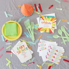 Plan a colorfully coordinated summer party inspired by #Tinyprint's Sunray Celebration Party invitations. #Summer #Coral #Color