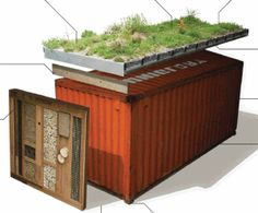 Green Roof Shelters Ltd have just launched a great new product, reusing shipping containers and adding green credentials by the bucket-load. Also check out the green roof container village in Brigh…