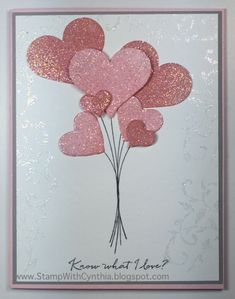 Sweetheart punch, Itty Bitty Accents punch pack, Circle Card Thinlits (heart), Balloon Celebration, iridescent ice