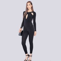34a8e88b7859 Sexy Women Jumpsuit Slim Bottoming Hollow Out Night Club Rompers Womens  Stretchy Jumpsuit Fitness Bodycon Jumpsuit