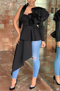 Black Blouse Outfit, Peplum Blouse, Dress Outfits, Fashion Outfits, Trendy Outfits, Women's Fashion, African Fashion Dresses, Classy Dress, Ideias Fashion