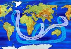 Seven continents major oceans social studies and students world map showing major ocean currents by salinity levels warm shallow water is less gumiabroncs Choice Image