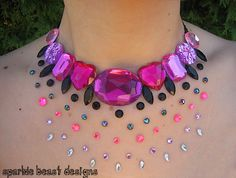 Pink and black rhinestone illusion necklace. #jewelry #etsy #handmade #statement
