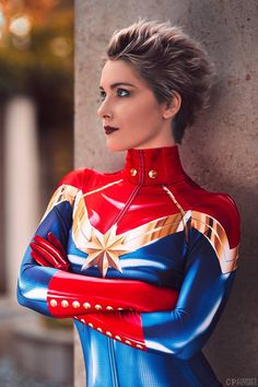 captain marvel cosplay by Reaver - Cosplay #captainmarvel #marvel #cosplaygirl #costume #cosplayclass Ms Marvel Cosplay, Captain Marvel Costume, Marvel Costumes, Villain Costumes, Comic Costume, Superhero Cosplay, Epic Cosplay, Amazing Cosplay, Cosplay Costumes