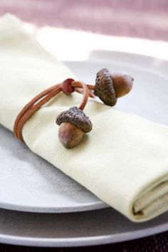 Fall Fun - DIY Napkin rings from acorns