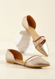 Point Made Flat in Gold   Mod Retro Vintage Flats   ModCloth.com #ad