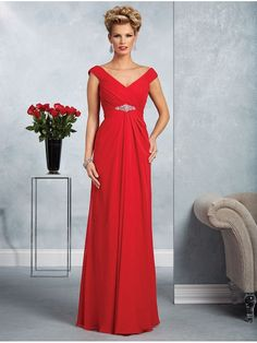 Long Red Beaded Off-the-Shoulder Mother of The Bride Dresses 907010