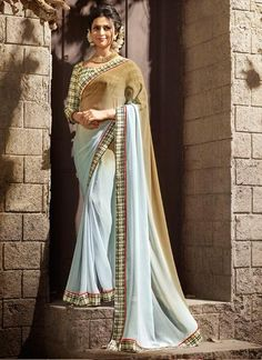 LadyIndia.com #Printed Saree Sarees, Multicoloured Printed Georgette & Satin Women\'s Saree, Printed Saree Sarees, https://ladyindia.com/collections/ethnic-wear/products/multi-daily-wear-georgette-satin-saree-with-art-silk-blouse