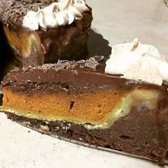 Pumpkin PIECAKEN: Pumpkin Pie in a Milk Chocolate Fudge Cake recipe in link http://piecaken.blogspot.com/2015/10/pumpkin-piecaken-pumpkin-pie-in-milk.html #southerndesserts #sourthernfood #rosemary #cake #cakes #dessert #desserts #thanksgivingdesserts #thanksgivingrecipes #pumpkinpie #chocolate Yummery - best recipes. Follow Us! #thanksgivingrecipes