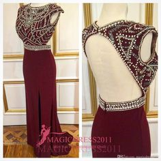 Chic Burgundy Evening Prom Dresses 2016 Mermaid Jewel Cap Sleeves Collar Beaded Crystal Chiffon Split Formal Celebrity Gowns Custom Made Plus Size Prom Evening Beaded Evening Gowns Sexy Luxury Formal Gowns Online with 128.0/Piece on Magicdress2011's Store | DHgate.com