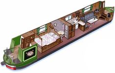 Using boat interior design for tiny house plan inspiration Canal Boat Interior, Canal Barge, Narrowboat Interiors, Dutch Barge, Houseboat Living, Living On A Boat, Wood Boat Plans, Boat Projects, Floating House