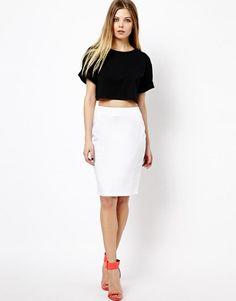 black top, white pencil skirt, red heels. women fashion @roressclothes closet ideas