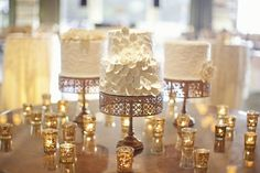 Gold Wedding Cakes gorgeous gold cake stands - Take a look at some of our favorite glittering gold wedding ideas! Mini Wedding Cakes, Wedding Desserts, Wedding Decorations, Mini Cakes, Table Decorations, Multiple Wedding Cakes, Gold Wedding, Dream Wedding, Glamorous Wedding