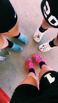 Crocs are the definition of swag Cute Shoes, Me Too Shoes, Croc Charms, Crocs Shoes, Best Friend Goals, Pumps, Heels, Shoe Game, Slide Sandals