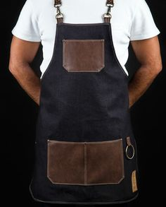 Classy high quality waterproof apron exclusive designed for bartenders. Cut from chest to mid-thigh, easy to clean and very comfortable. Restaurant Aprons, Restaurant Uniforms, Bartender Uniform, Chef Dress, Towel Apron, Shop Apron, Custom Aprons, Leather Apron, Aprons For Men