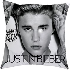 Justin Bieber Cushion (€12) ❤ liked on Polyvore featuring home, home decor, throw pillows, polyester throw pillows, black and white throw pillows, black and white accent pillows, justin bieber and patterned throw pillows