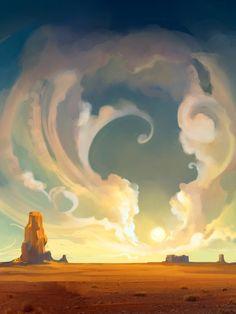 American Desert art for iPad Western Landscape, Fantasy Landscape, Desert Art, Dry Desert, Desert Rose, Desktop, Iphone Wallpapers, Game Character Design, Epic Art