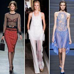 A range of sheer dresses and separates showed off designers' penchant for skin-baring details. #pasarela #runway    From left to right: Bottega Veneta, Emilio Pucci, Alberta Ferretti