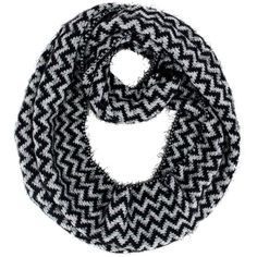 Black & White Ultra Plush Fuzzy Eyelash Knit Chevron Circle Scarf ($13) ❤ liked on Polyvore featuring accessories, scarves, heavy, loop scarf, thin infinity scarf, infinity scarves, long infinity scarf and black and white infinity scarf