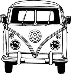 VW Bus Coloring Pages Printable. VW bus is the second line of the motor vehicle presented by the German car manufacturer Volkswagen, in Volkswagen Bus, Vw T1, Vw Camper, Volkswagen Beetles, Combi Hippie, Van Drawing, Vw Minibus, Combi Wv, Retro