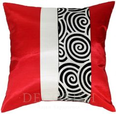 Throw Decorative Silk Pillow Case for Sofa & Bed : Red & Cream Modern Asian Spiral Collection $5.99
