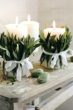 Mooie manier om kaarsen te decoreren.