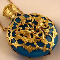 Antique French Napoleon III Era Blue Opaline Glass Scent/Perfume Bottle Chatelaine