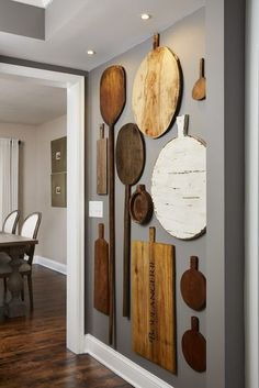 Kitchen Decor Ideas, Farmhouse Kitchen, Traditional Farmhouse Kitchen, #WoodTrivets, #AccentWall, #KitchenDecor, #KitchenDecorWall #Gray #WhiteTrim, #rusticdecor, #cuttingboards #pizzakitchen #butlerspantry #pantry #farmhousediningroom  #antique #display #grouping #gallery #woodfloor #grey #white Rustic Walls, Rustic Wall Decor, Wall Art Decor, Farmhouse Decor, Modern Farmhouse, Farmhouse Design, Dining Wall Decor Ideas, Farmhouse Ideas, Creative Wall Decor