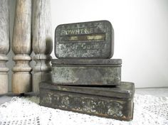 Antique Tin Boxes Set of 3 Instant Collection by gazaboo on Etsy,