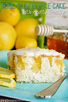 Honey Lemon Poke Cake with Ricotta Frosting /// The perfect flavor combinations for a deliciously easy cake.