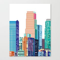 Los Angeles Cityscape Stretched Canvas by Laurie Mildenhall - $85.00