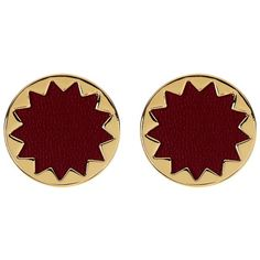 House of Harlow 1960 Sunburst Leather Button Stud Earrings ($16) ❤ liked on Polyvore featuring jewelry, earrings, accessories, sangria, post back earring, post earrings, nickel free earrings, leather jewelry and gold tone jewelry