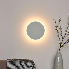 LED wall light Eklyps, white, round, Source by clicklicht Tall Floor Lamps, Tall Lamps, Led Wall Lamp, Led Wall Lights, Hallway Ceiling Lights, Lamp Logo, Ikea Lamp, Applique Led, White Lamp Shade