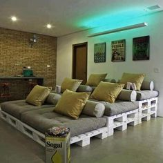 Pallets made into home theater seating!