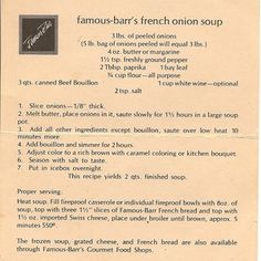 Famous-Barr's Onion Soup - I remember dressing up to go shopping with Mom and then eating at Famous-Barr's Restaurant - wonderful memory!