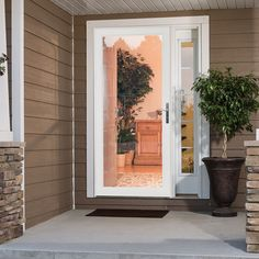 Shop LARSON Secure Elegance White Full-View Laminated Glass Security Storm Door (Common: 36-in x 81-in; Actual: 35.75-in x 79.75-in) at Lowes.com