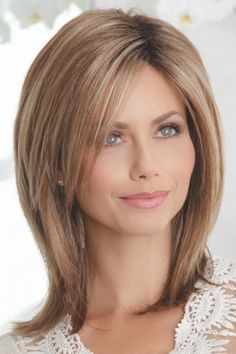 Shop beautiful wigs for women in the latest hairstyles; Browse synthetic & human hair, for white or black women in every length and color! Discover our stylish women's wigs for sale today! Medium Hair Cuts, Medium Hair Styles, Curly Hair Styles, Short Styles, Wavy Hair, New Hair, Layered Hair, Medium Layered, Great Hair