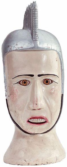 "dinerdreams:  Mid Twentieth Century Bust of a Man Wearing a Helmet. ""Helmet Head."" Found at Odd Fellows"
