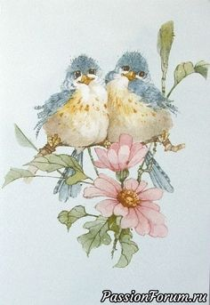 Carolyn Shores Wright Blue Birds Pink Flower Blossoms - 999 x 1456 Funny Birds, Cute Birds, Watercolor Bird, Watercolor Paintings, Watercolors, Illustration Blume, China Painting, Bird Drawings, Bird Pictures