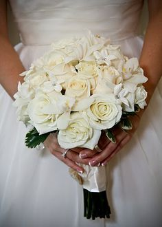 My bouquet:  Ivory roses, orchids