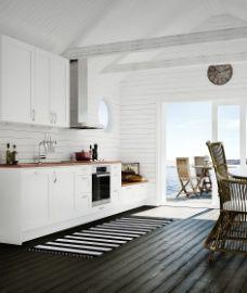 snyggt med liggande panel i köket! dock kanske lite opraktiskt?