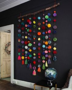 Huge Pom Pom Wall Hanging, Colorful Pom Pom Garland, Handmade Pom Pom Strand, Boho Nursery Decor – Home Decoration Boho Nursery, Nursery Decor, Garland Nursery, Pom Pom Garland, Hanging Pom Poms, Pom Pom Curtains, Pom Pom Rug, Beaded Curtains, Diy Girlande