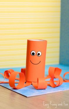 Toilet Paper Roll Octopus Craft is part of Kids Crafts Cards Toilet Paper Aching for a splash of ocean Join in and make a fun toilet paper roll octopus craft with us This little fellow will be don - Bee Crafts For Kids, Toddler Crafts, Diy For Kids, Easy Crafts, Crab Crafts, Octopus Crafts, Paper Towel Roll Crafts, Toilet Paper Roll Crafts, Toilet Paper Art