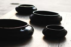 Alexander Lamont natural lacquer Ripple bowls.