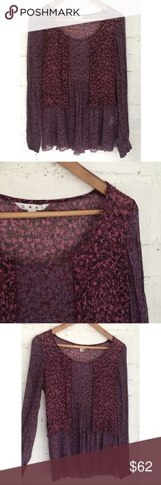 Plum Silk Floral Blouse Deep hues, airy silk chiffon, freshly dry cleaned. I bought this NWOT and I've never worn it either :) perfect color for autumn and winter! Lovely top. CAbi Tops Blouses
