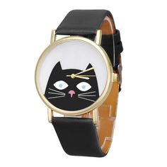 Cat Women Girls Watches Leather Band Analog Quartz Dial Wrist Watch Black New