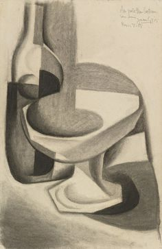 Compotier and Bottle, 1917 Cubist Drawing, Picasso Drawing, Cubist Art, Secondary School Art, Pencil Drawing Images, Synthetic Cubism, Georges Braque, Spanish Artists, Anatomy Drawing