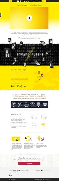 Unique Web Design, Escape Flight @youngchulkim #WebDesign #Design (http://www.pinterest.com/aldenchong/)